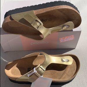 BIRKENSTOCK PAPILLIO Gizeh Platform Gold Sandal 39